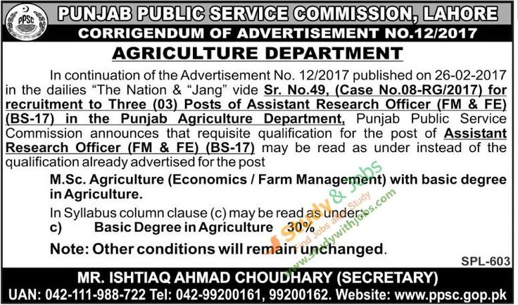 Jobs PPSC Apply Online in Agriculture Department 2nd March 2017