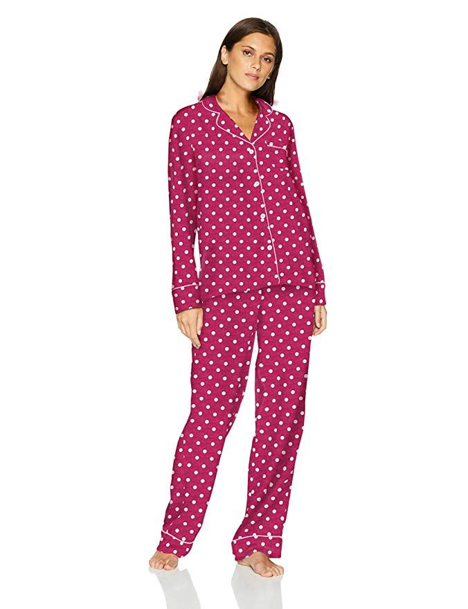 1239197a1 Mae Women's Sleepwear Cozy Flannel Notch Collar Pajama Set, Polka Dot, Small