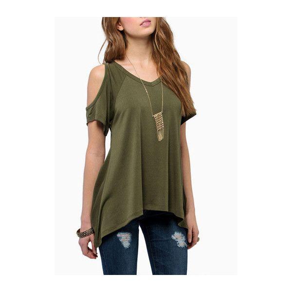 Rotita V Neck Cutout Shoulder Green T Shirt ($16) ❤ liked on Polyvore featuring tops, t-shirts, shirts, outfits, green, brown t shirt, collared shirt, green collar shirt, green v neck t shirt i v neck shirts