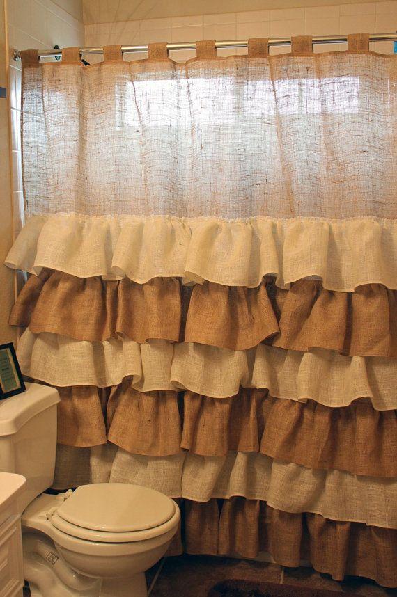 Burlap Shower Curtain Ruffles By CreativeCaterpillar