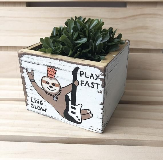 Punk Rock Sloth, Sloth Planter, Sloth Box, Gift for Sloth Lover, Guitar Pick Holder, Gift for Boyfriend, Rock Star Gift, Funny Planter