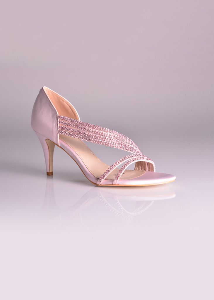 Pretty in Pink! And we also have it in white, perfect as a #bridesmaids #shoe or even for the bride with its sturdy ankle support and delicate multiple straps with sparkling detail. Click to View More or Get the Price!