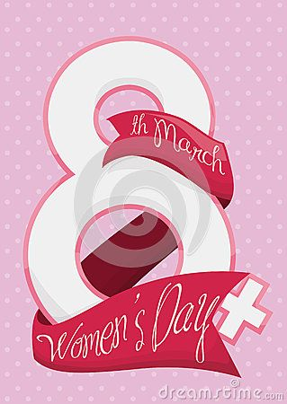 Number 8 mixed with woman symbol with pink ribbon around it commemorating Women's Day