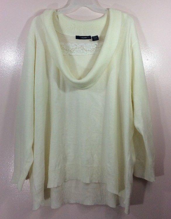 Denim 24/7 Woman's Cowl Neck Sweater Lace Insert Plus Size 4x White  | eBay