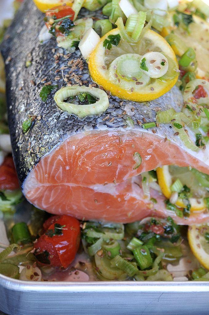 pedra do lar: salmão assado com funcho