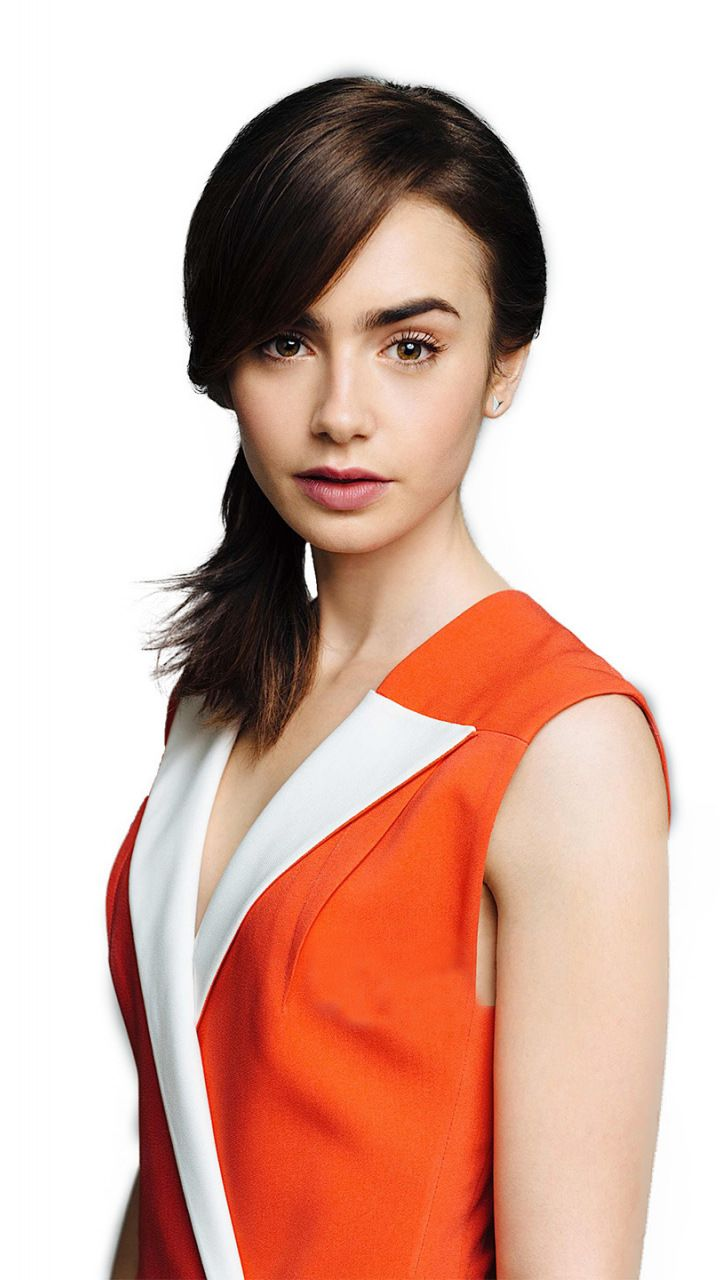 Lily Collins, cute and simple, actress, 720x1280 wallpaper