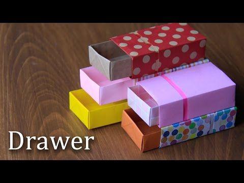 折り紙で引き出しの折り方。折り図付き。ゆっくりバージョン。【Origami Tutorial】drawer - YouTube