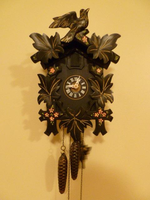 Vintage Black Forest Cuckoo Clock Unusual Amp Rare Black