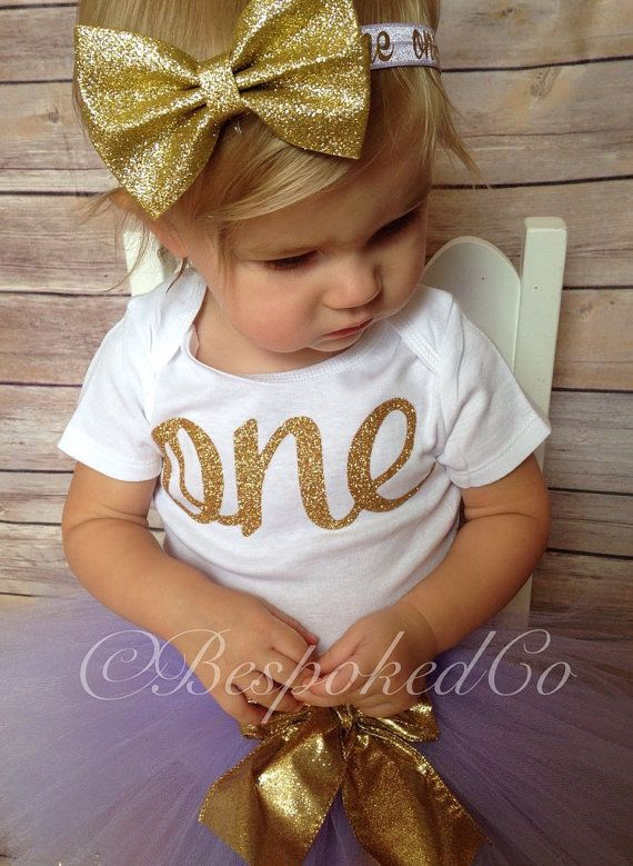 Light Purple and Gold 1st birthday Outfit Purple by BespokedCo