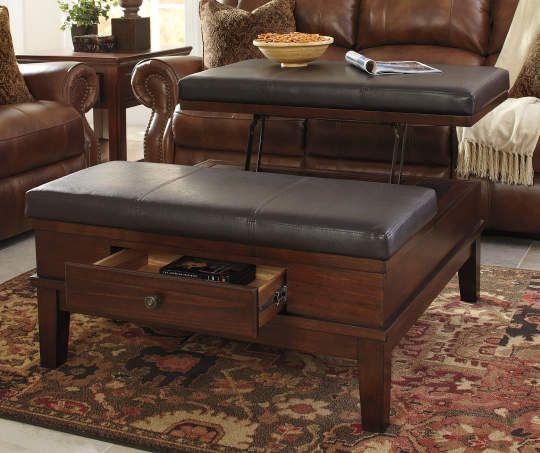 Gately Brown Lift Top Storage Ottoman Ottoman Ottoman Table Furniture
