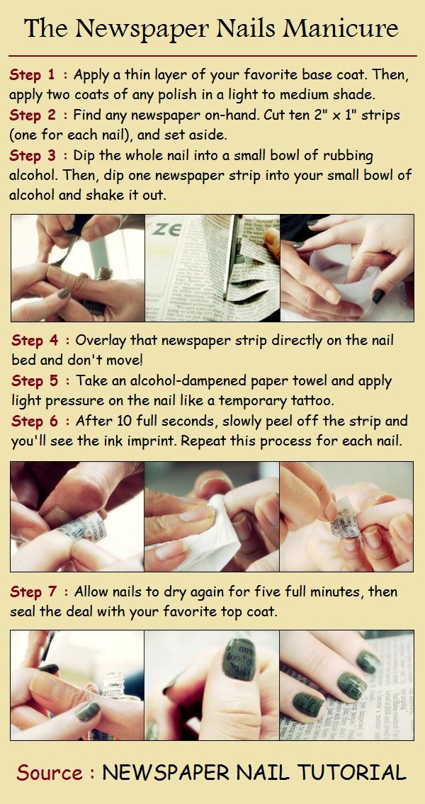 The Newspaper Nails Manicure - tried this out on nude colour and it worked like magic.  Awesome for girls who are a little bit quirky :)