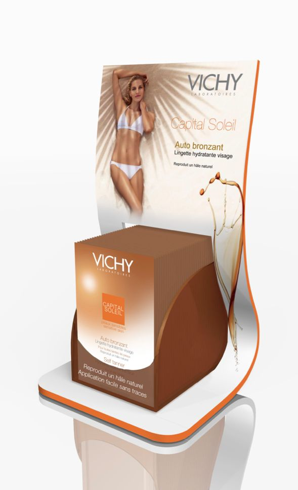 Counter Display for Vichy, by MANON BOUTIÉ. visual graphics wrap around the existing product packaging