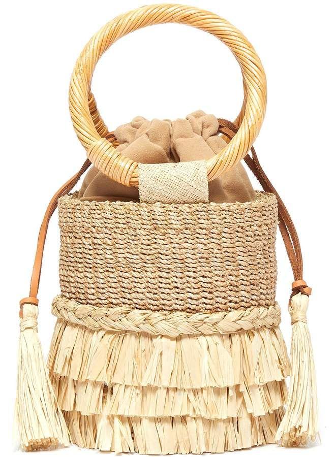 ARANÁZ | 'Nona' raffia fringe straw bucket bag | Women | Lane Crawford – Shop Designer Brands Online