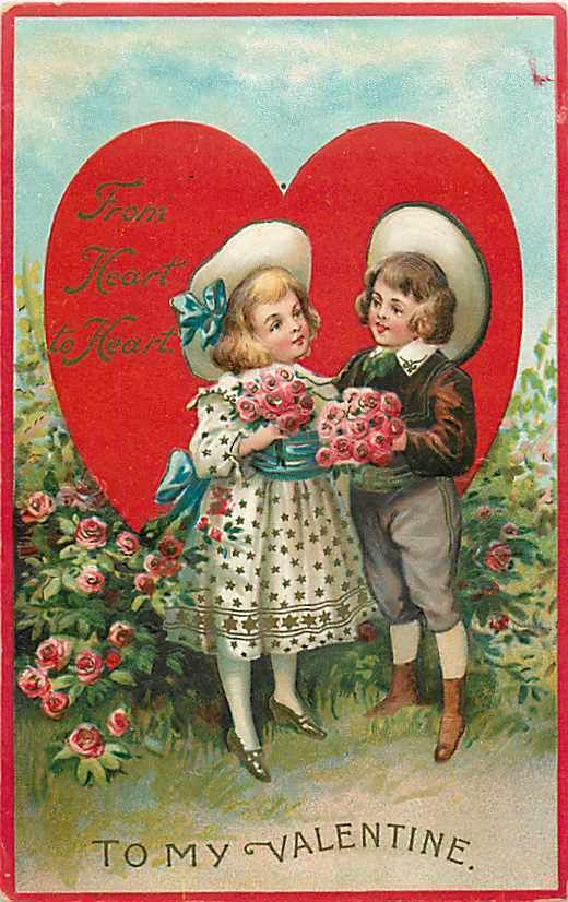 Valentine Day Gabriel No 405 1 Boy and Girl with Flowers by Large Heart | eBay