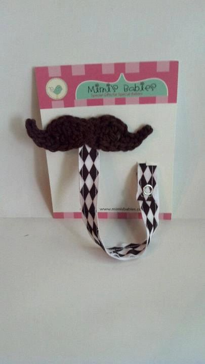 Mustache Baby Boy Shower Gift Set - Mustache Hat and Pacifier Clip - Crochet in Chocolate Brown with Diamond Print Ribbon. $28.50, via Etsy.