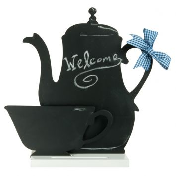 Let this classy teapot and cup help keep you on top of your to do list in top notch style.  Ideal for kitchen or breakfast nook.