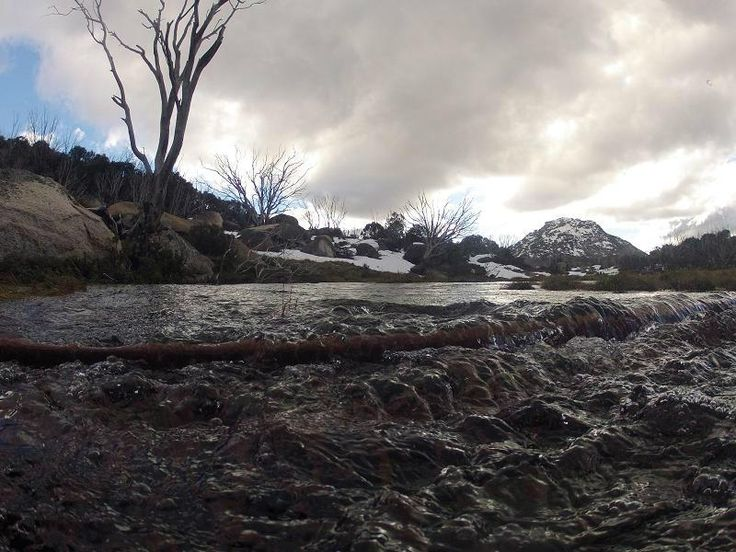 Icy cold snow-melt cascading over the walking bridge, Mt Buffalo, Victoria 31/07/2014 Taken by @capebanks