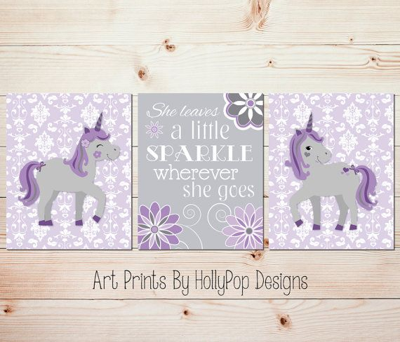 Purple gray nursery art Unicorn art prints She leaves a little sparkle  Purple unicorn art Girls room decor Toddler girl bedroom art  1534. Best 25  Purple unicorn ideas on Pinterest   Purple printed art