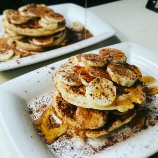 Waffles with peanut butter, bananas, and chili chocolate dust. And of ...