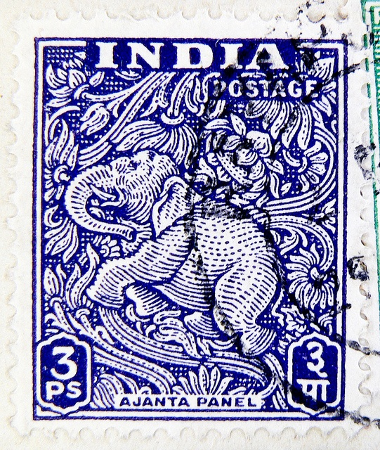 Indian 3 ps. stamp. Buddhist elephant fresco from the Ajantha caves