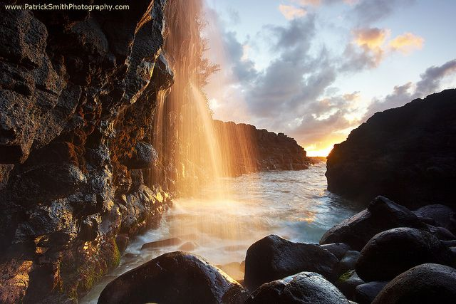 Golden Falls - Queen's Bath, Kauai, Hawaii, by Patrick Smith: Golden Fall, Natural Photography, Waterfalls, Patrick'S Smith, Queens, Queen Bath, Beautiful, Kauai Hawaii, Places