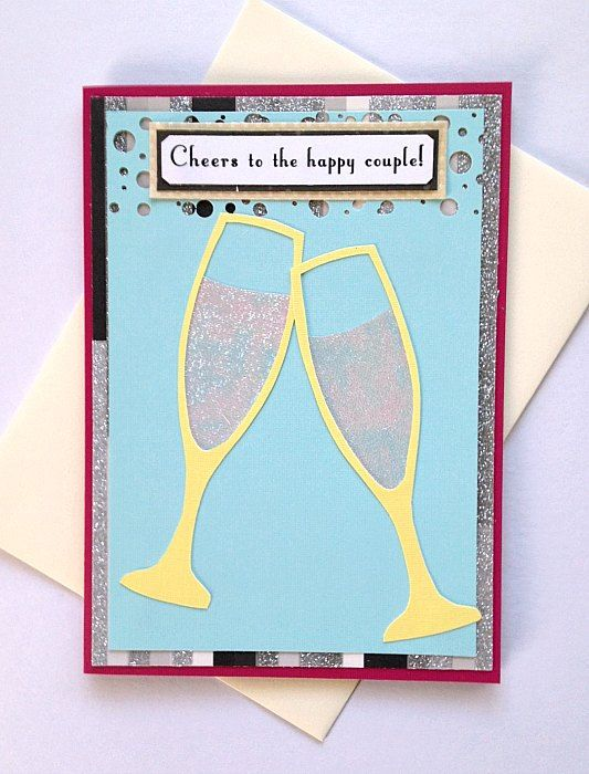 Cheers to the Happy Couple  Handmade Wedding Marriage Greeting Card by aSteadyPaceStudio
