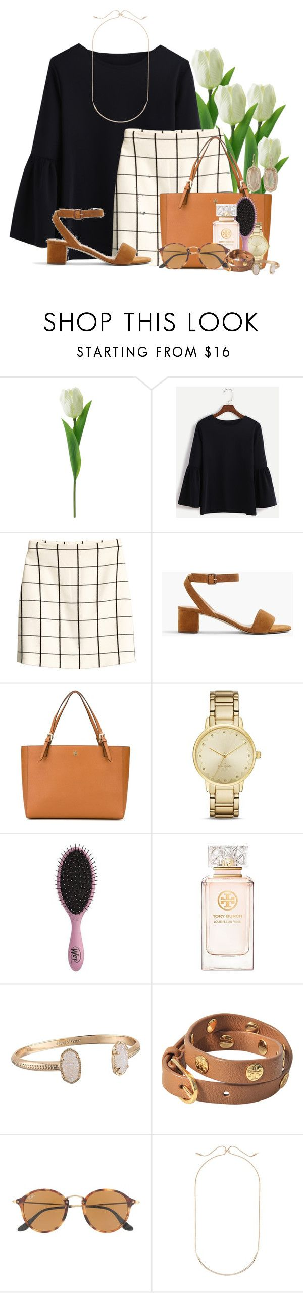 """""""~classy and sassy~"""" by flroasburn ❤ liked on Polyvore featuring H&M, J.Crew, Tory Burch, Kate Spade, Topshop, Kendra Scott and Ray-Ban"""