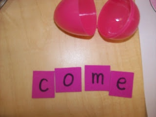 plastic eggs with mixed up letters, they record their answers on a worksheet
