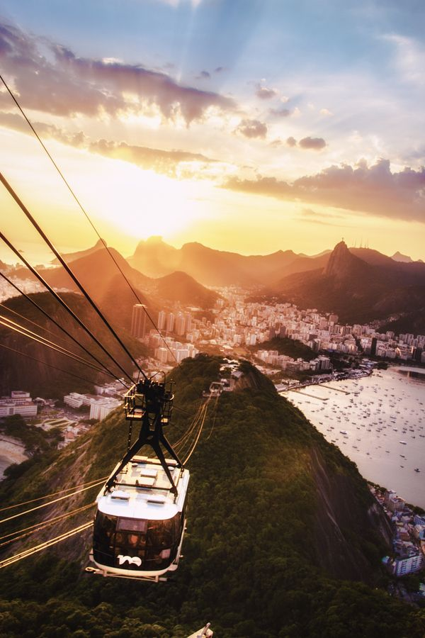 Brazil - Rio de Janeiro - Cable car from Sugar Loaf Mountain at sunset- did this!