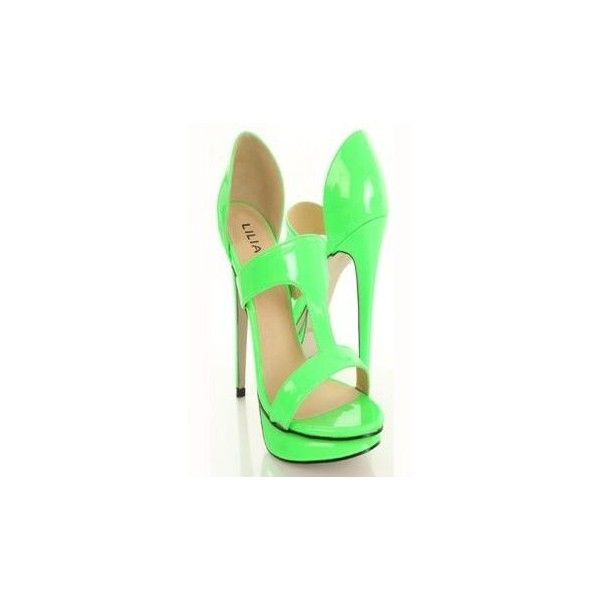 Sea Green Yellow Faux Suede Neon Trim Cut Out Platform Heels ❤ liked on Polyvore