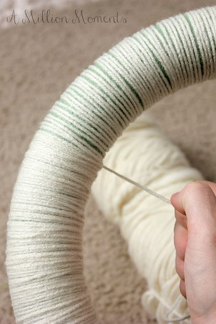 Easy Yarn Wreath Tutorial by MillionMoments, via Flickr