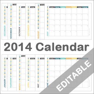 A Typical English Home: Free 2014 Printable Calendar (Editable)