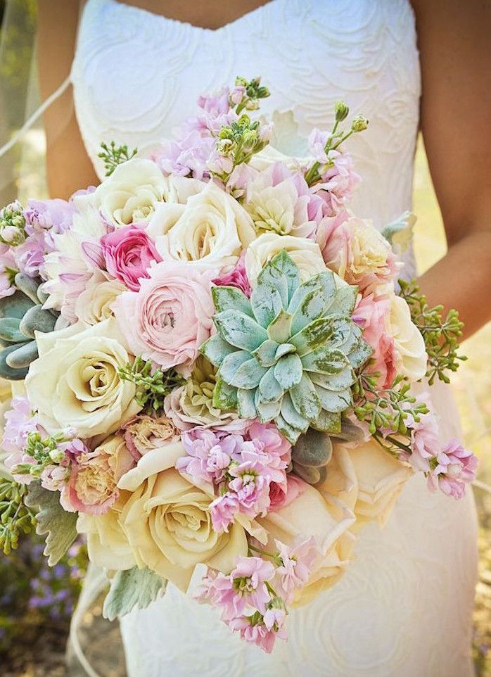 pastel wedding bouquet - love the pop of green from the succulents!  ~  we ❤ this! moncheribridals.com