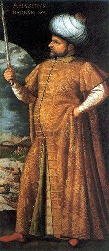 Khayr ad-Din Barberousse en caftan, Gouverneur de la Régence d'Alger de 1518 à 1533.