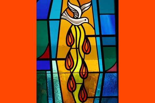 Holy Spirit stained glass