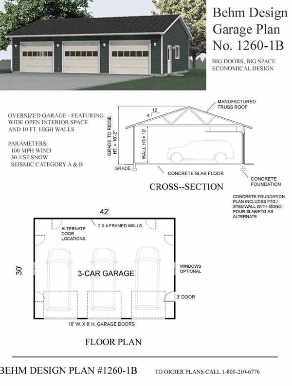 Over-sized Three Car Garage Plans - 1260-1B by Behm Design