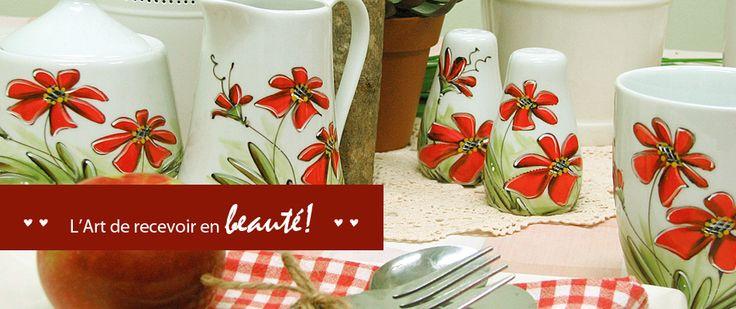 Les fleurs rouges : : L'Art de recevoir en beauté ! Produits peints à la main.