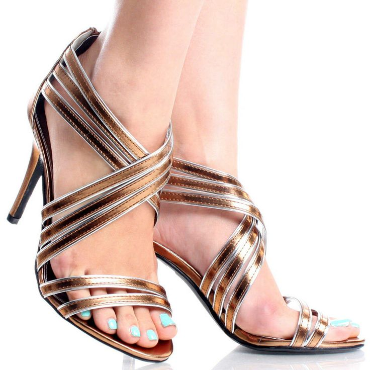 Amazing Half Sugar Bronze High Heel Womens Sandals Evening Dress Shoes Retail