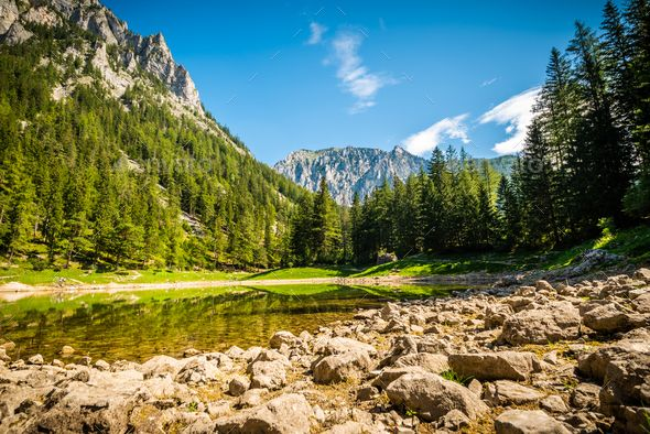 Lake In Alp Destination In Styria Austria Between Mountains And Forests Green Lake Gruner See Green Lake Austria Green Lake Styria