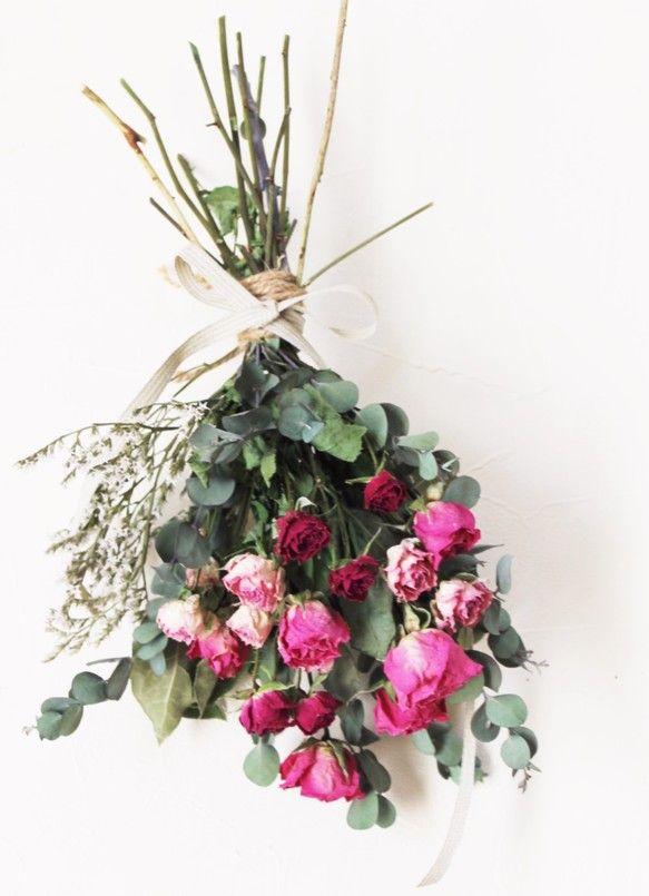 母の日ギフト】 ドライフラワーの薔薇の花束|フラワー・リース ...