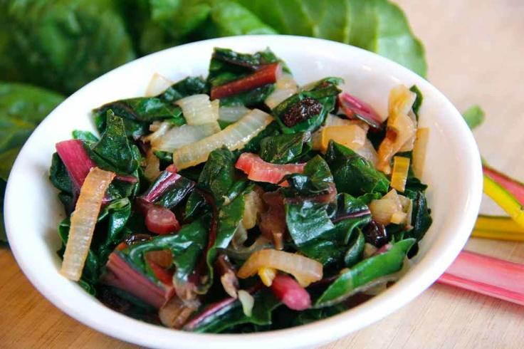 #vegan Sauteed Rainbow Chard With Raisins And Caramelized Onions