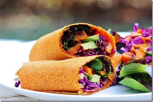 Gena's Raw, Vegan Carrot and Cumin Wraps (vegan, gluten free, soy free if you sub sea salt for the tamari)    Makes 6 wraps    2 cups carrot pulp OR grated carrot (if you use the latter, give it a quick squeeze with paper towel to remove a little excess moisture)  1 cup flax meal  2 cups water (+ extra as needed)  1 tbsp cumin  1-2 tbsp tamari