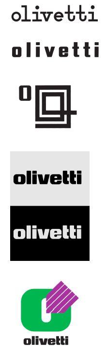 Identità visiva / Visual Identity Olivetti, Xanti Schawinsky, 1930, Gianni Pintori, 1950, Marcello Nizzoli, 1956, Walter Ballmer, 1970, Gianni Pintori, 1983, courtesy Associazione Archivio Storico Olivetti, Ivrea.