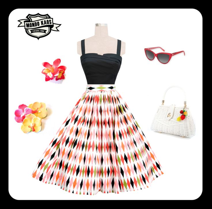 Jenny Skirt in Harlequin & summer bag from Pinup Couture, and Cateye