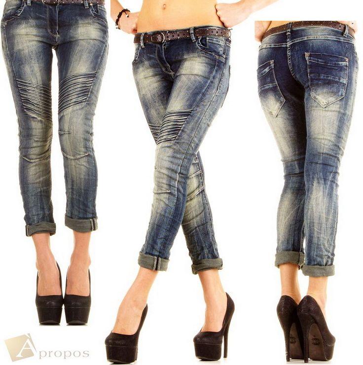 Jeans Slim Fit Skinny Denim Blau Denim Stonewashed Used Röhre Blau Apropos
