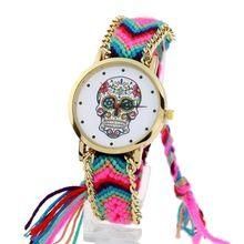 Gnova platin Uhr Frauen vintage Mexikanische Catrina Stil Schädel Mode armbanduhr Spitze Golden Geflochtene Kette Reloj