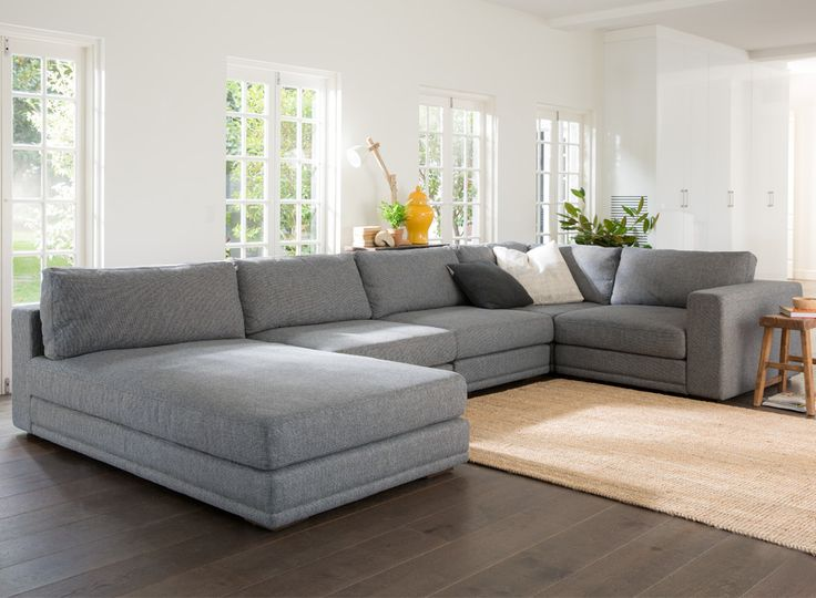 Quattro Modular sofa in grey for a sleek modern look. From Plush at Crossroads Homemaker Centre