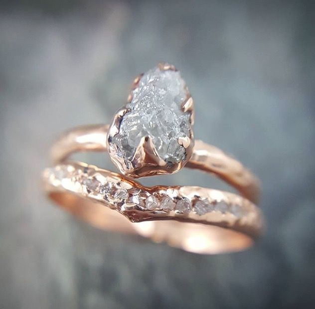 Raw, uncut diamond engagement ring and wedding band.
