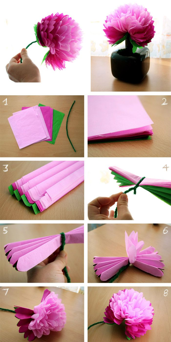 Pelur kağıdı ile ponpon, çiçek ve süs yapımı (13)