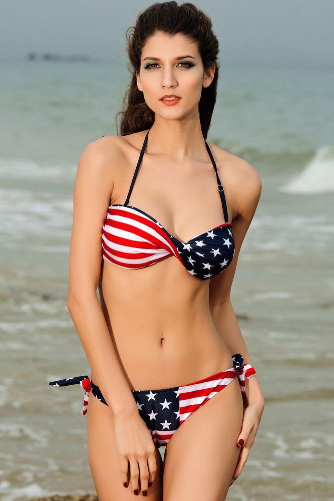 New Summer 2015 Sexy Twist Bandeau Bikini Set Star Stripe Swimsuit Swimwear